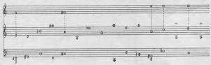 Excerpt from score of Feldman's Piano (three hands)