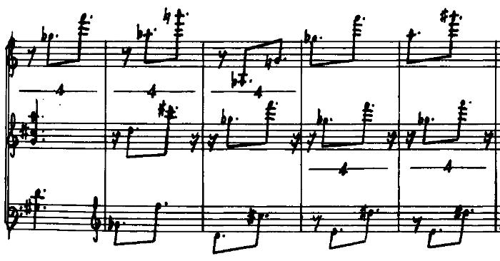 Triadic Memories, meas. 118-122, manuscript